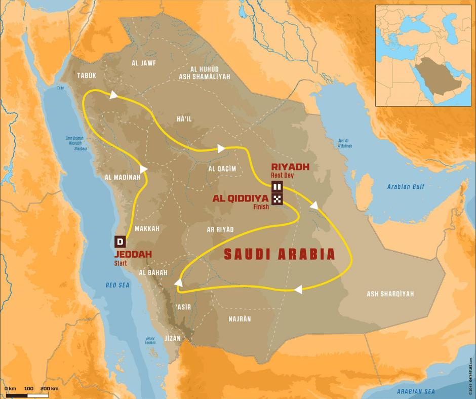 The Dakar 2020 route